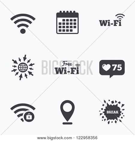 Calendar, like counter and go to web icons. Free Wifi Wireless Network icons. Wi-fi zone locked symbols. Password protected Wi-fi sign. Location pointer.
