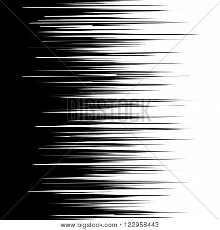 Abstract comic book speed lines background. Vector illustration for superhero design. Bright black and white light strip burst. Flash ray blast glow. Manga cartoon hero fight print stamp