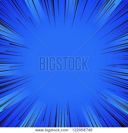 Abstract comic book flash explosion radial lines background. Vector illustration for superhero design. Bright black blue light strip burst. Flash ray blast glow Manga cartoon hero fight print stamp