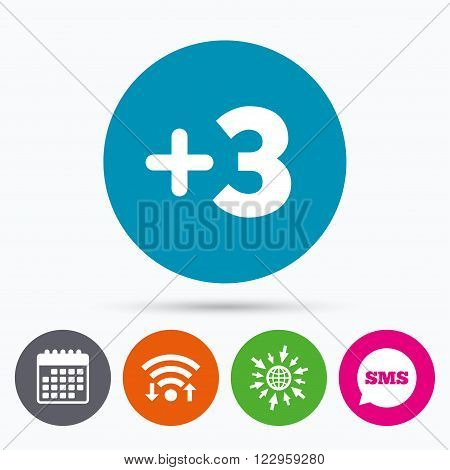 Wifi, Sms and calendar icons. Plus three sign. Add three symbol. Three more. Go to web globe.