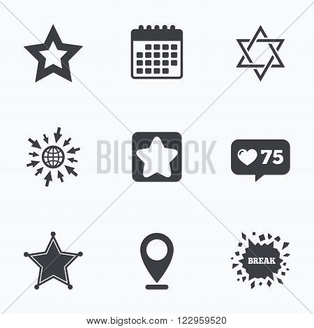 Calendar, like counter and go to web icons. Star of David icons. Sheriff police sign. Symbol of Israel. Location pointer.