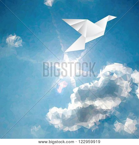 vector illustration with paper bird on paper sky with sun and clouds, low poly