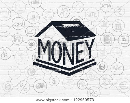 Money concept: Money Box on wall background