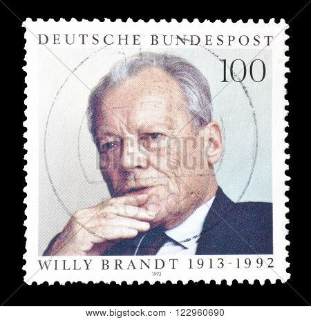 GERMANY - CIRCA 1993 : Cancelled postage stamp printed by Germany, that shows Willy Brandt.