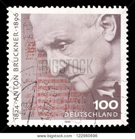GERMANY - CIRCA 1996 : Cancelled postage stamp printed by Germany, that shows Anton Bruckner.