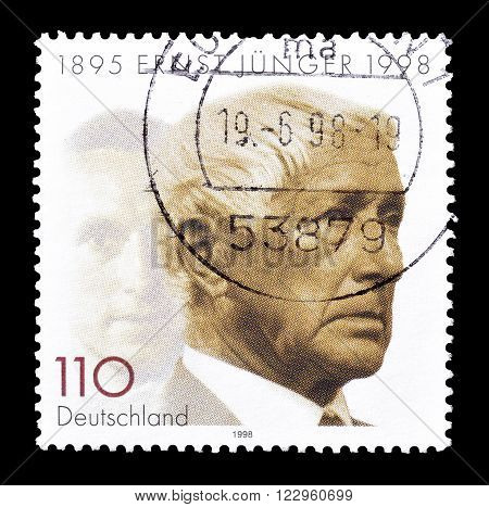 GERMANY - CIRCA 1998 : Cancelled postage stamp printed by Germany, that shows Ernst Junger.