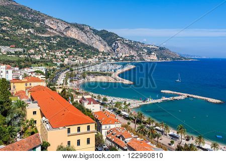 View of Menton shoreline at sunny day on French Riviera.