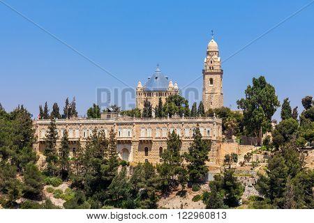Dormition Abbey on Mount Zion in Jerusalem, Israel.