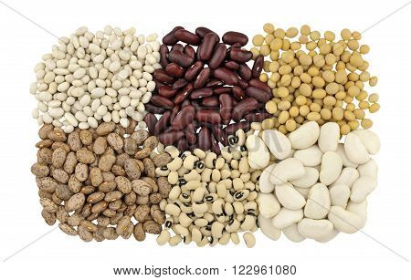 Dried beans clockwise from top left Haricot or Navy beans Red Kidney beans also known as Red Giant Soya beans Butter beans Black Eyed beans also called Black Eyed peas and Pinto beans.