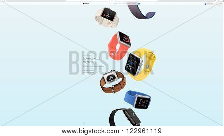 PARIS FRANCE - MAR 23 2016: Results of the latest Apple keynote with the Apple.com website presenting the new straps for Apple Watch - You at a glance