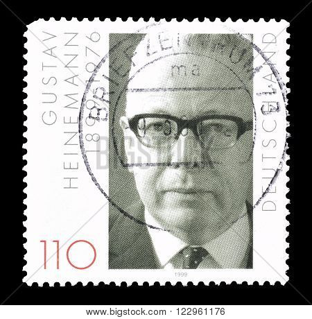 GERMANY - CIRCA 1999 : Cancelled postage stamp printed by Germany, that shows Gustav Heineman.