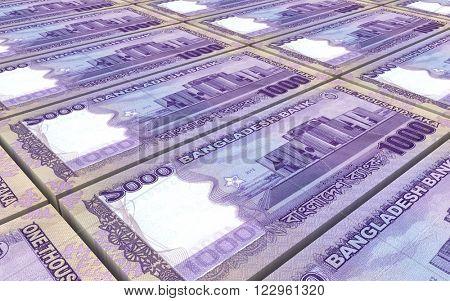 Bangladeshi taka bills stacks background. Computer generated 3D photo rendering