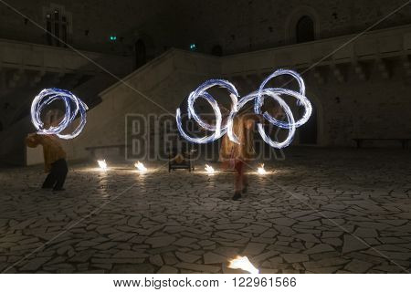 MISKOLC HUNGARY - MARCH 10. 2016 - Fire dancers in the Castle of Diosgyor in Miskolc Northern Hungary