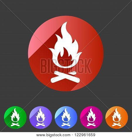 Fire icon flat web sign symbol logo label set