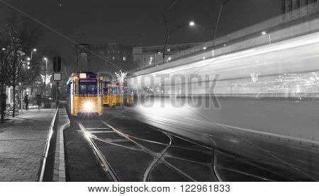 Traditional Budapest Old Tram In The city Center of Budapest, Black And White