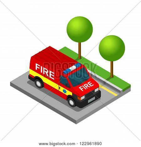 Firefighter pickup van isometric 3d car truck transport set