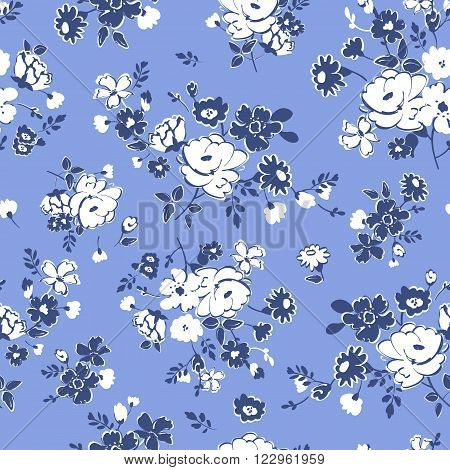 Seamless floral background. Isolated flowers and leafs on blue background. Vector illustration.