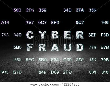 Protection concept: Cyber Fraud in grunge dark room