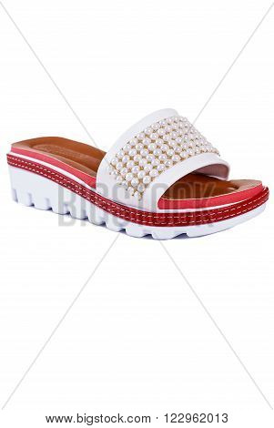 fashion high heel slippers isolated on white background