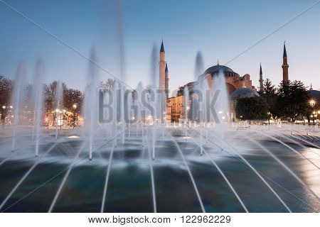 Hagia Sophia church and fountain in Istanbul, Turkey.