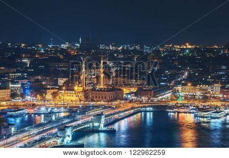 ISTANBUL, NOV 19: Galata Bridge during night from the Marmara sea. November 2013 in Istanbul, Turkey