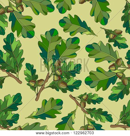 Seamless texture. The branches and oak leaves with acorns.