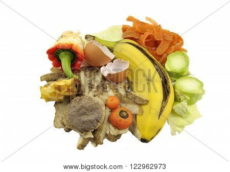 Household food materials comprising fruit and vegetable waste for composting.