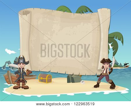 Big pirate map and cartoon pirate children on a beautiful tropical beach