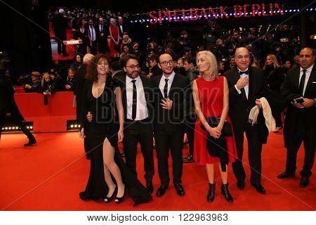 Dora Bouchoucha Fourati, Majjd Mastoura, Mohamed Ben Attia and Rym Ben Messaoud  attend the closing ceremony of the 66th Berlinale International Film Festival on February 20, 2016 in Berlin, Germany.