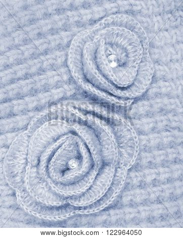 Grey Wool Flowers On Grey Wool Knitted As Background