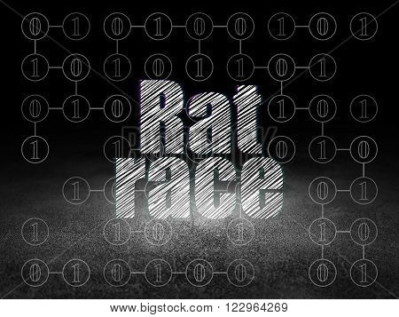Business concept: Rat Race in grunge dark room