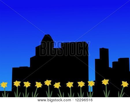 Houston skyline in spring with daffodils illustration JPG