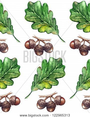 Watercolor three oak green leaf acorn seed seamless pattern background