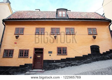 Stockholm, Sweden - March, 19, 2016: ancient inhabited building in Stockholm, Sweden