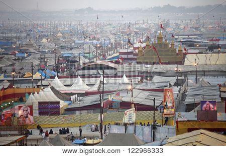 ALLAHABAD, INDIA - FEBRUARY 06, 2013: Aerial panorama view of Maha Kumbh Mela festival camp, the world's largest religious gathering