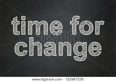 Time concept: Time for Change on chalkboard background