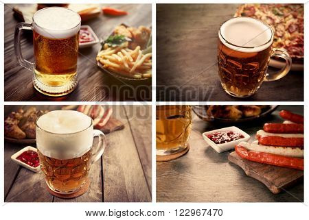 Collage with glasses of beer with food, on table on wooden background