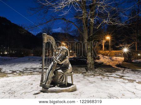 BAD HOFGASTEIN, AUSTRIA - March 13, 2012: City Park Alpenkur.