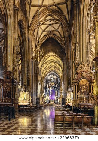 VIENNA,AUSTRIA-MARCH 17, 2012:Interior St. Stephen's Cathedral(Stephansdom) the mother church of the Roman Catholic Archdiocese of Vienna and the seat of the Archbishop of Vienna.Austria.