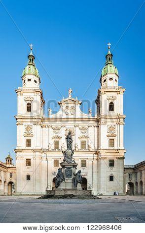 AUSTRIA, SALZBURG - MARCH 15, 2012: Famous Salzburg Cathedral (Salzburger Dom) at Domplatz Salzburg Land, Austria