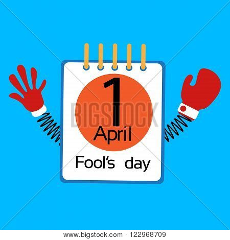 Calendar Page Fool Day April Holiday Greeting Card Banner With Spring Hands Flat Vector Illustration