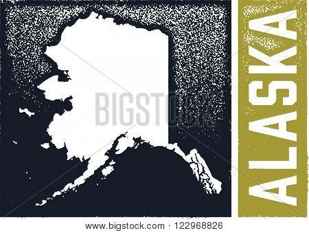 Vintage Style Alaska State Sign Stamp