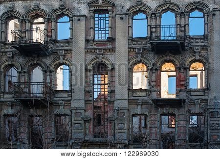 Windows in an old architectural building in the classical style.