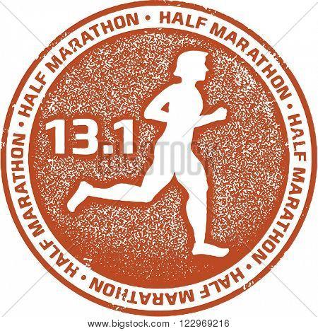Half Marathon Running Stamp