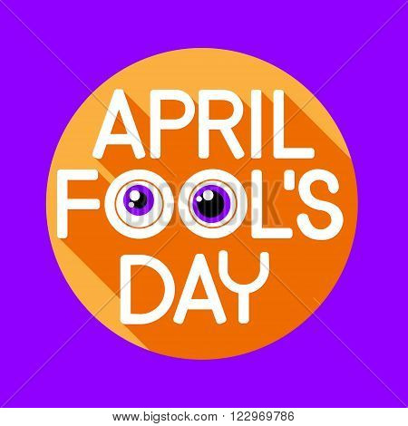 Fool Day April Holiday Greeting Card Banner Comic Crazy Eyes Flat Vector Illustration