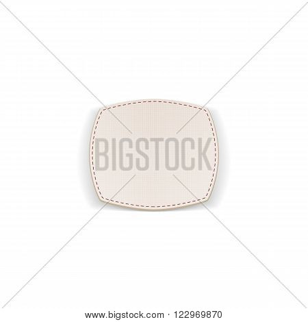 Greeting paper white Badge with Seams. Vector Illustration