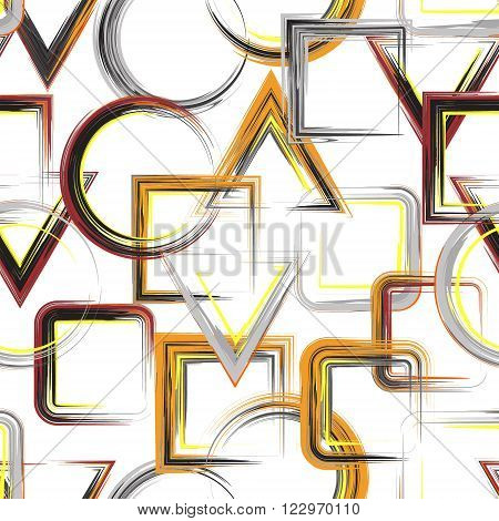 Vector geometric pattern. Abstract geometric pattern background with brash painted squares triangle circle