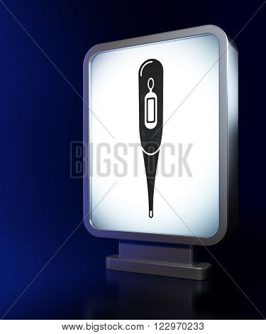Healthcare concept: Thermometer on billboard background