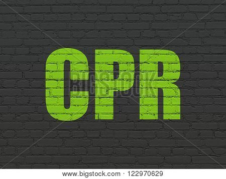 Healthcare concept: CPR on wall background