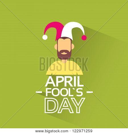 Facelss Man Wear Jester Hat, Fool Day April Holiday Banner Flat Vector Illustration